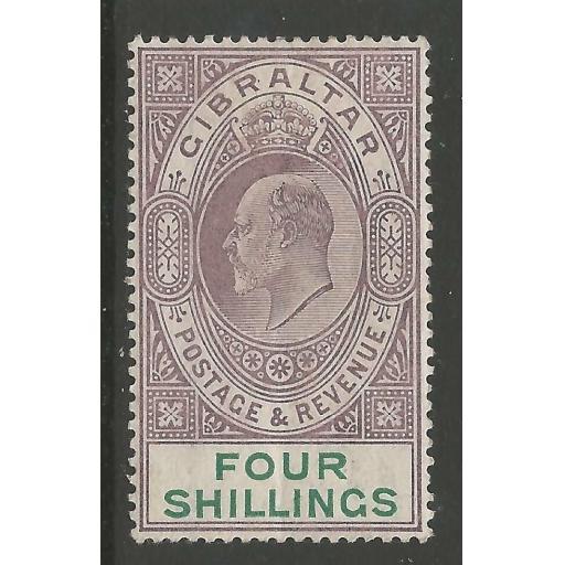 GIBRALTAR SG53 1903 4/= DULL PURPLE & GREEN MTD MINT