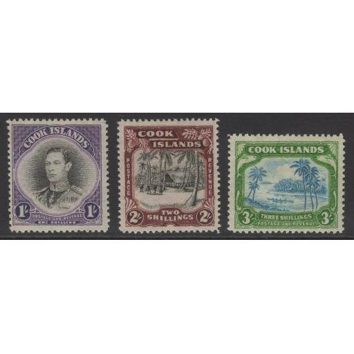 COOK ISLANDS SG127/9 1938 DEFINITIVE SET MTD MINT