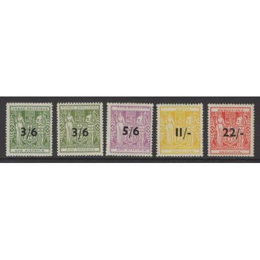 NEW ZEALAND SGF212/6 1942-53 SURCHARGE SET MTD MINT