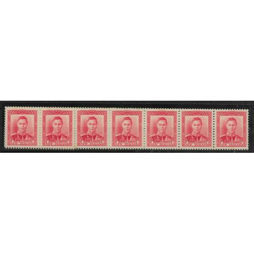 NEW ZEALAND SG605 1938 1d SCARLET COIL STRIP OF 18 WITH COIL JOIN MNH