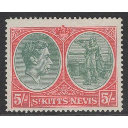 ST.KITTS-NEVIS SG77b 1945 5/= BLUISH GREEN & SCARLET p14 ORD PAPER MTD MINT