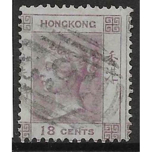 HONG KONG SG13 1866 18c LILAC USED