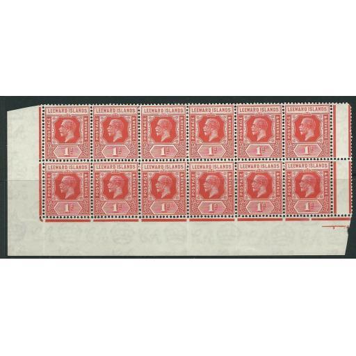 LEEWARD ISLANDS SG62 1929 1d BRIGHT SCARLET BLOCK OF 12 MNH