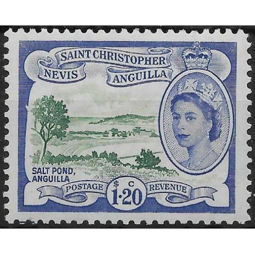 ST.KITTS-NEVIS SG117 1954 $1.20 DEEP GREEN & ULTRAMARINE MTD MINT