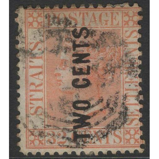 MALAYA STRAITS SETTLEMENTS SG59 1883 2c on 32c PALE RED USED