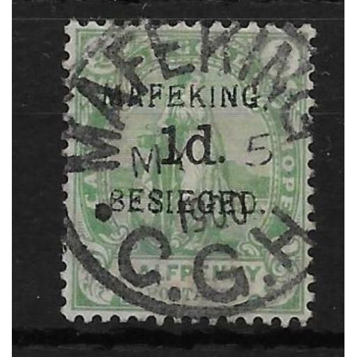 SOUTH AFRICA-MAFEKING SG2 1900 1d ON ½d GREEN USED