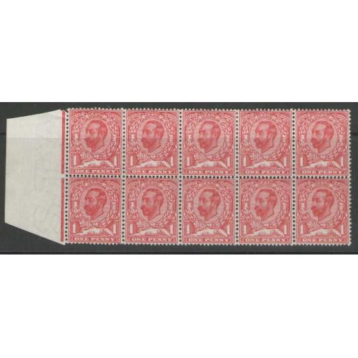 GB SG330 1911 1d PALE CARMINE BLOCK OF 10 MNH