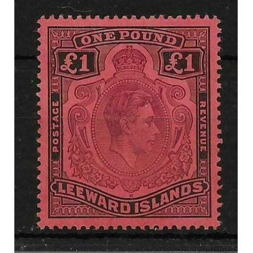LEEWARD ISLANDS SG114af 1942 1 PURPLE & BLACK ON CARMINE GASH IN CHIN MTD MINT