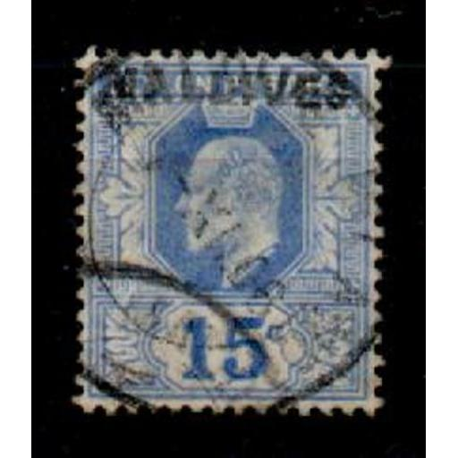MALDIVE ISLANDS SG5 1906 15c BLUE OVPT ON CEYLON USED