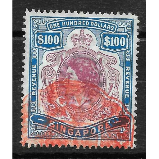 SINGAPORE Bft5 1953 $100 PURPLE & BLUE REVENUE STAMP USED