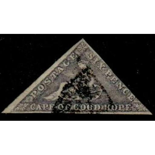 CAPE OF GOOD HOPE SG7c 1862 6d SLATE-LILAC USED