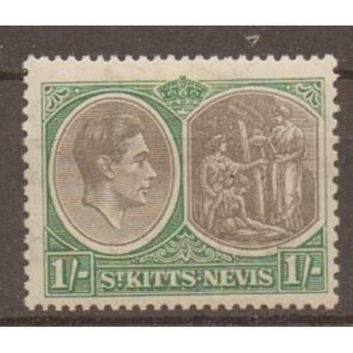 """ST.KITTS-NEVIS SG75a 1938 1/= BLACK & GREEN """"BREAK IN VALUE TABLET"""" VAR MTD MINT"""