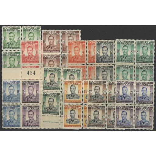 SOUTHERN RHODESIA SG40/51 1937 DEFINITIVE SET TO 2/6 MNH BLOCKS OF 4(10d IS LMM)