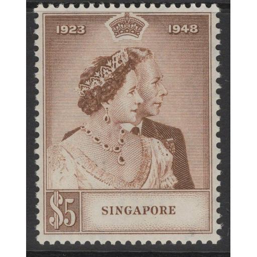 SINGAPORE SG32 1948 $5 SILVER WEDDING MNH