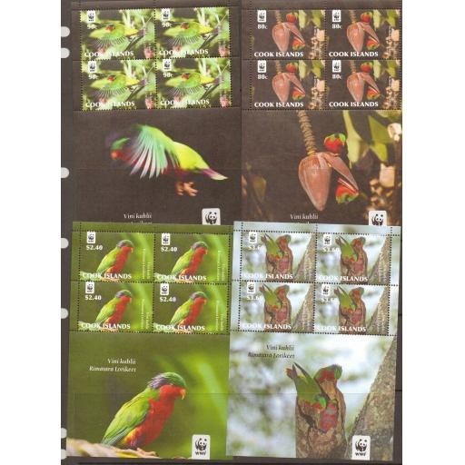 COOK ISLANDS 2010 WWF BIRDS 4 SHEETLETS MNH