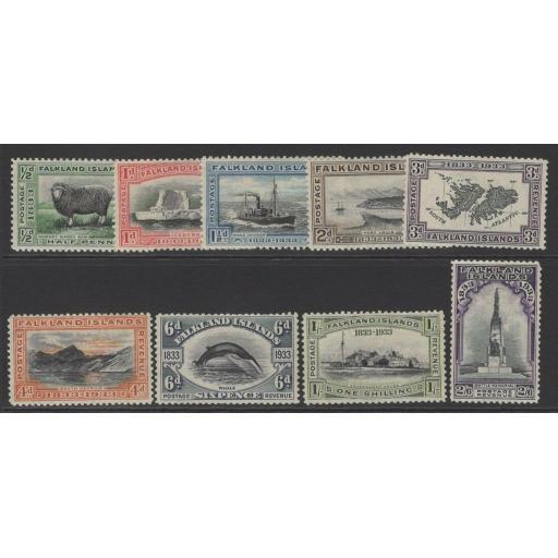 FALKLAND ISLANDS SG127/35 1933 CENTENARY SET TO 2/6 MTD MINT