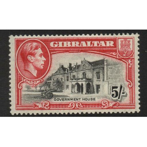 GIBRALTAR SG129 1938 5/= BLACK & CARMINE p14 MTD MINT