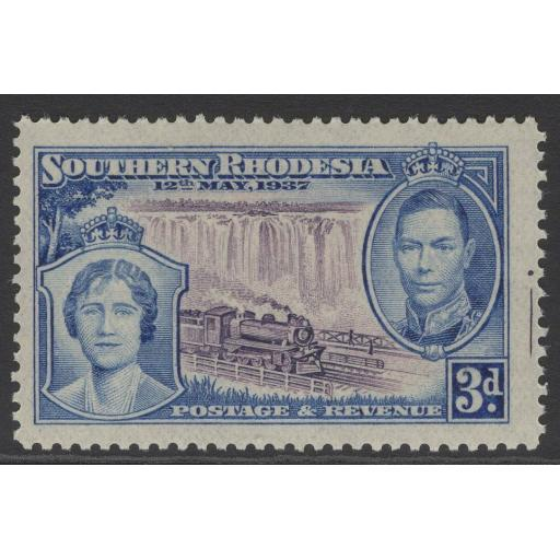 SOUTHERN RHODESIA SG38var 1937 3d CORONATION WITH MARKINGS IN MARGIN MNH