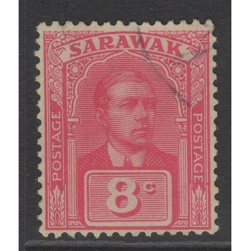 SARAWAK SG68 1922 8c BRIGHT ROSE-RED FINE USED