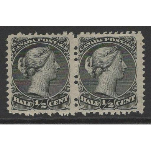 CANADA SG46 1868 ½c BLACK MTD MINT PAIR