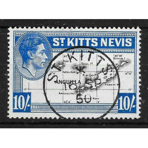 ST.KITTS-NEVIS SG77e 1948 10/= BLACK & ULTRAMARINE USED