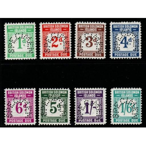 BRITISH SOLOMON IS. SGD1/8s 1940 POSTAGE DUE SET PERF SPECIMEN MTD MINT