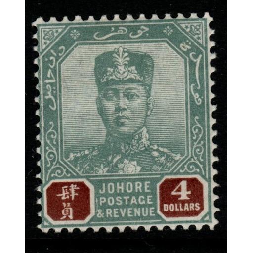 MALAYA JOHORE SG73 1904 $4 GREEN & BROWN MTD MINT