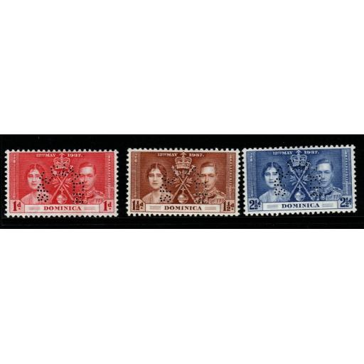 DOMINICA SG96/8s 1937 CORONATION PERF SPECIMEN SET MTD MINT