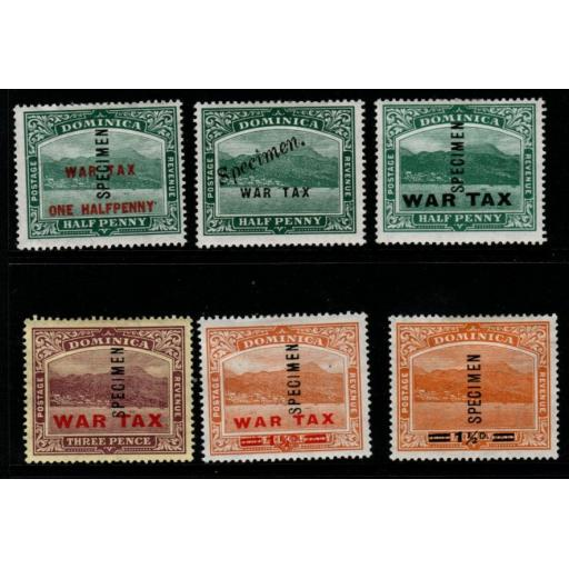 DOMINICA SG55/60s 1916-20 WAR TAX SPECIMEN SET MTD MINT