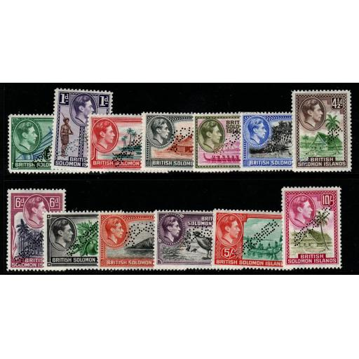 BRITISH SOLOMON IS. SG60/72s 1939-51 DEFINITIVE SET PERF SPECIMEN MTD MINT