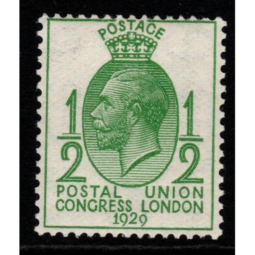 GB SG434a 1929 PUC ½d GREEN WMK SIDEWAYS MNH