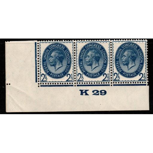 GB SG437 1929 PUC 2½d BLUE CONTROL K29 MTD MINT STRIP OF 3
