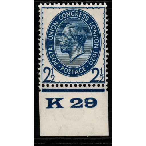 GB SG437 1929 PUC 2½d BLUE CONTROL K29 MNH