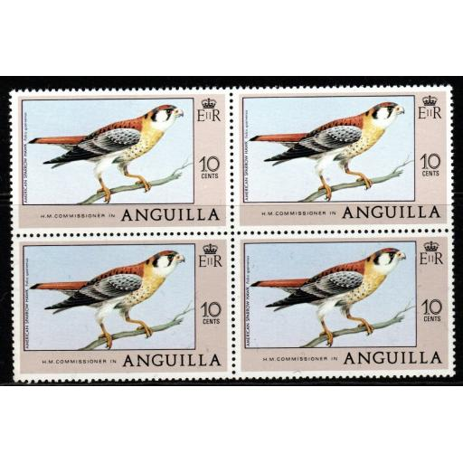 ANGUILLA SG280 1978 10c BIRDS MNH BLOCK OF 4
