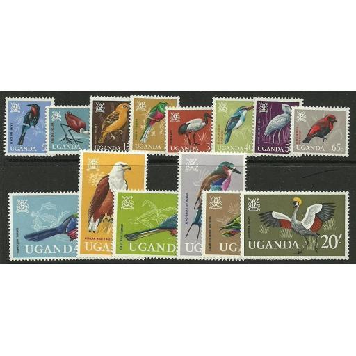 UGANDA SG113/26 1965 BIRDS MNH