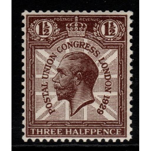 GB SG436a 1929 PUC 1½d PURPLE-BROWN WMK SIDEWAYS MNH