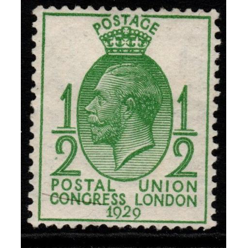 GB SG434a 1929 PUC ½d GREEN WMK SIDEWAYS MTD MINT