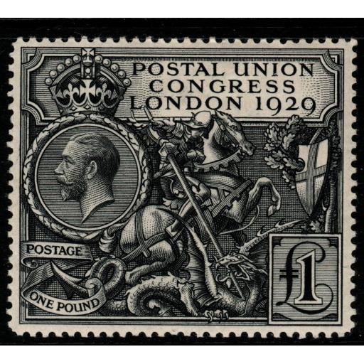 GB SG438 1929 PUC £1 BLACK MTD MINT
