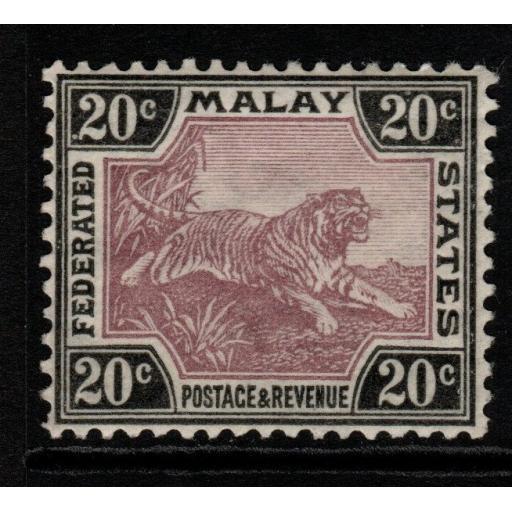 MALAYA FMS SG69a 1926 20c DULL PURPLE & BLACK ORD PAPER MTD MINT