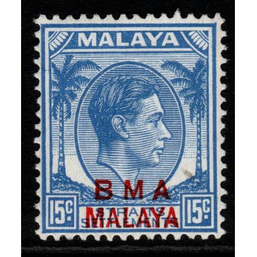MALAYA BMA SG12b 1947 15c BLUE MNH