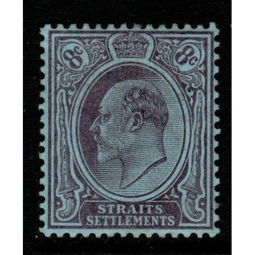 MALAYA STRAITS SETTLEMENTS SG126 1904 8c PURPLE/BLUE MTD MINT