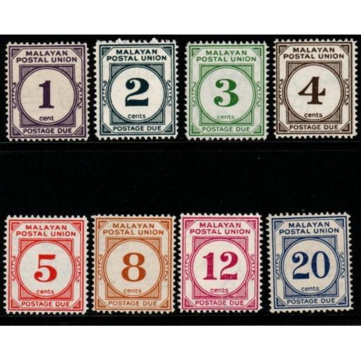 MALAYAN POSTAL UNION SGD14/21 1951-63 POSTAGE DUE SET MNH
