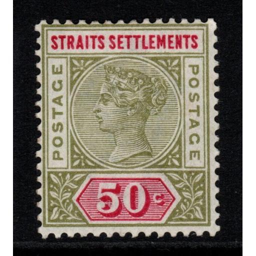 MALAYA STRAITS SETTLEMENTS SG104 1892 50c OLIVE-GREEN & CARMINE MTD MINT