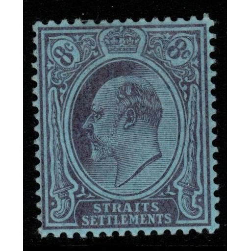 MALAYA STRAITS SETTLEMENTS SG131 1905 8c PURPLE/BLUE MTD MINT