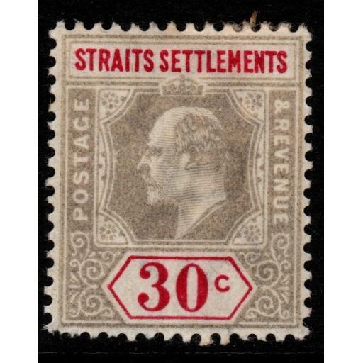 MALAYA STRAITS SETTLEMENTS SG117 1902 30c GREY & CARMINE MTD MINT