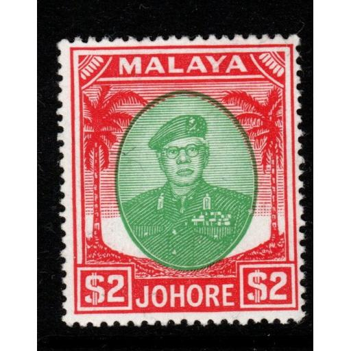 MALAYA JOHORE SG146 1949 $2 GREEN & SCARLET MNH
