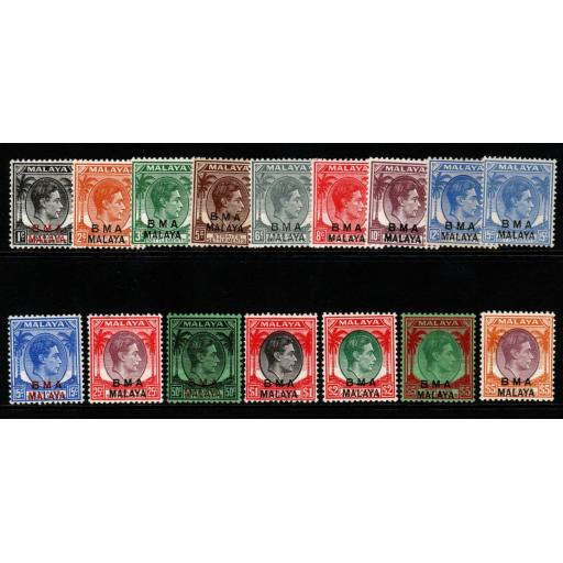 MALAYA BMA SG1/18 1945-8 DEFINITIVE SET MNH