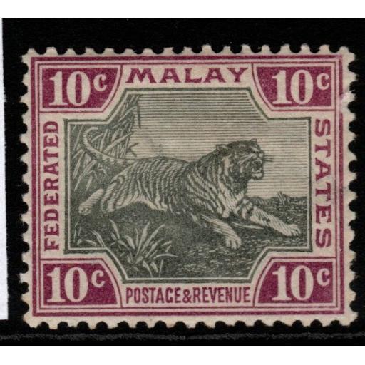 MALAYA FMS SG20a 1900 10c GREY & CLARET MTD MINT