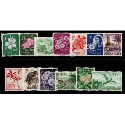NORFOLK ISLAND SG24/36 1960-2 DEFINITIVE SET MTD MINT
