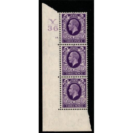 GB SG444 1935 3d REDDISH VIOLET CONTROL Y36 CYLINDER 14 DOT MNH STRIP OF 3